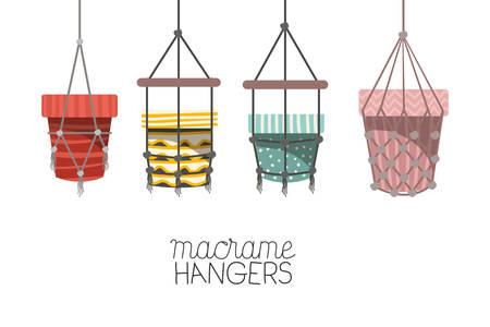 set of macrame pots hangers vector illustration design