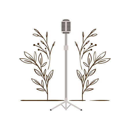 microphone with stand with branches and leaves in the background vector illustration design