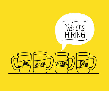 set mugs drinks with we are hiring message vector illustration design