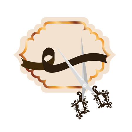 frame with ribbon and scissor in white background vector illustration design Çizim