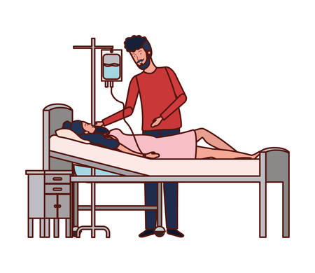 pregnancy woman in stretcher with father vector illustration design Çizim