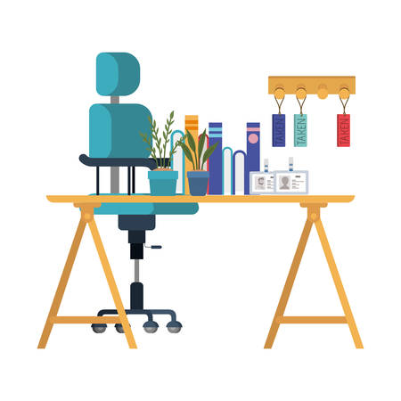 office desk with chair in white background vector illustration desing  イラスト・ベクター素材
