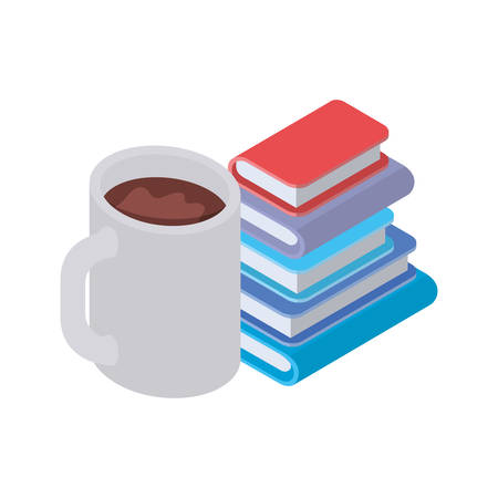 stack of books with cup of coffee on white background vector illustration design