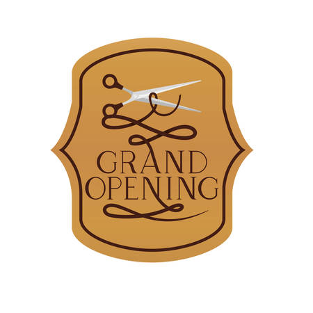 frame with label grand opening isolated icon vector illustration design