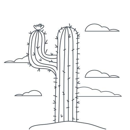 cactus in landscape isolated icon vector illustration design