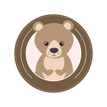 cute and adorable bear with circular frame vector illustration design Иллюстрация
