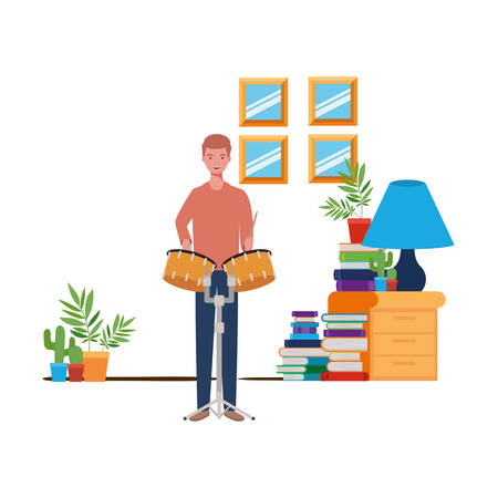 young man with timpani in living room vector illustration design