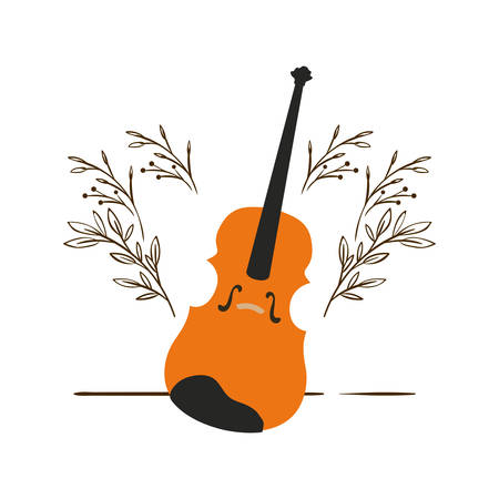 fiddle with branches and leaves in the background vector illustration design