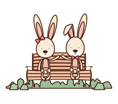 cute couple of bunnies sitting on park chair vector illustration design  イラスト・ベクター素材