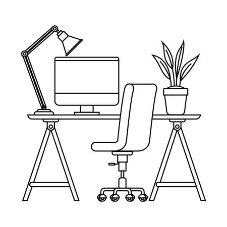 silhouette of office desk with chair icon vector illustration desing