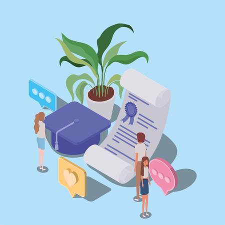 online education with diploma and mini people vector illustration design