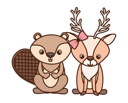 card of celebration with animals vector illustration design