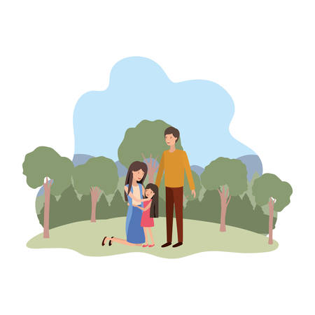 couple of parents with daughter in landscape avatar vector illustration design
