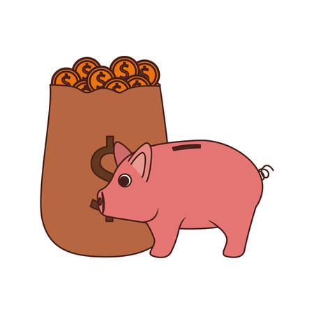 money savings and pig on white background vector illustration design