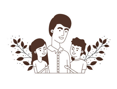 father with children avatar character vector illustration design