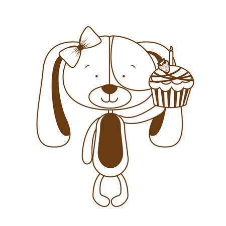 cute puppy with hearts and cake vector illustration design Illusztráció