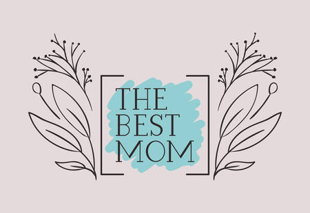 happy mothers day card with herbs square frame vector illustration design