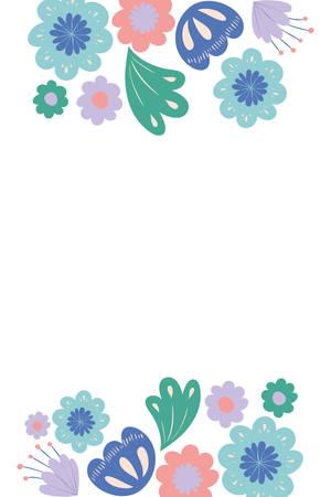frame with flowers and leafs icon vector illustration design Illusztráció
