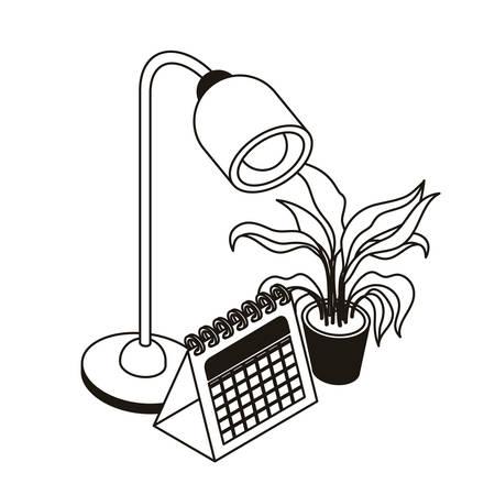office lamp and calendar on white background vector illustration design Ilustração