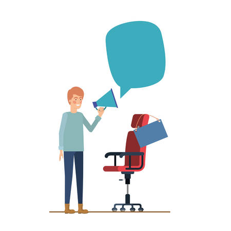 man with chair and poster hanging icon vector illustration design Stock Illustratie