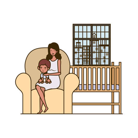 afro pregnancy mother with little boy seated in sofa vector illustration design