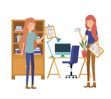 women in the work office with white background vector illustration design
