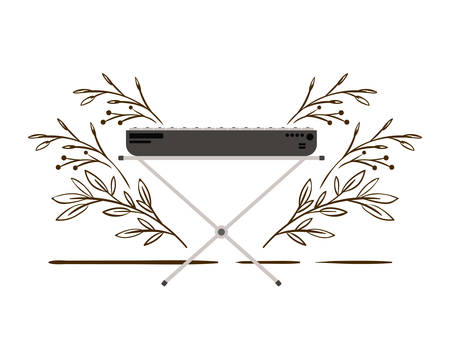 piano keyboard with branches and leaves in the background vector illustration design