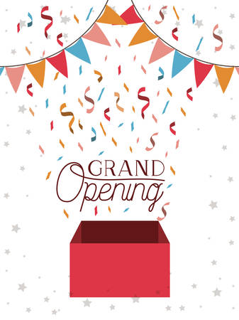 grand opening card with confetti box and garlands hanging vector illustration
