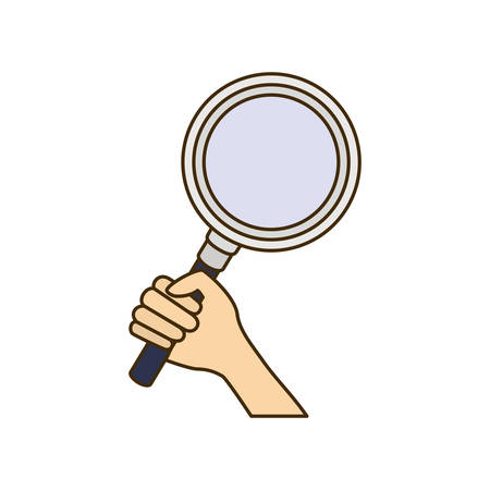 hand with magnifying glass with white background vector illustration design