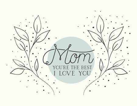happy mothers day card with herbs circular frame vector illustration design