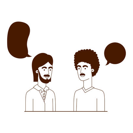 men with speech bubble avatar character vector illustration design Çizim