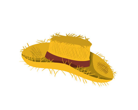 Straw hat with ribbon on white background vector illustration design