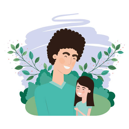 father with daughter avatar character vector illustration design Иллюстрация