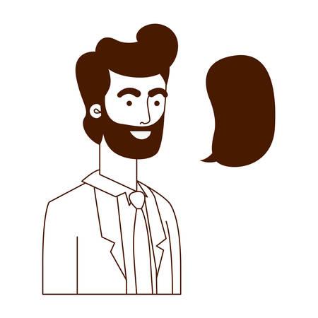 man with speech bubble avatar character vector illustration design Illusztráció