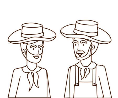 farmers men talking with straw hat vector illustration design Çizim