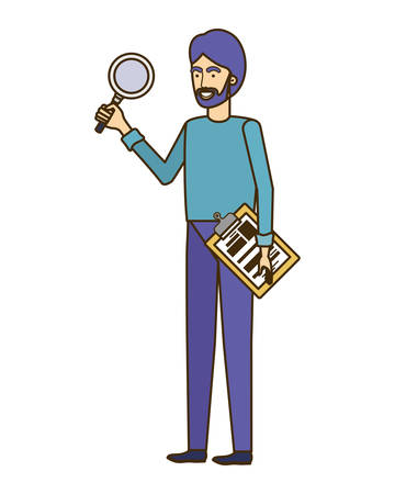man standing with magnifying glass vector illustration design
