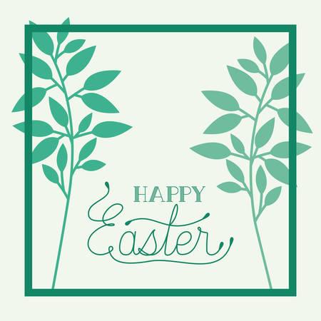 happy easter frame with handmade font and leafs vector illustration design Illusztráció
