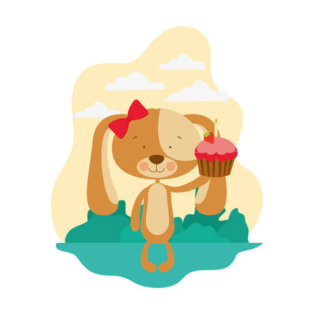 cute puppy with hearts and cake vector illustration design Çizim