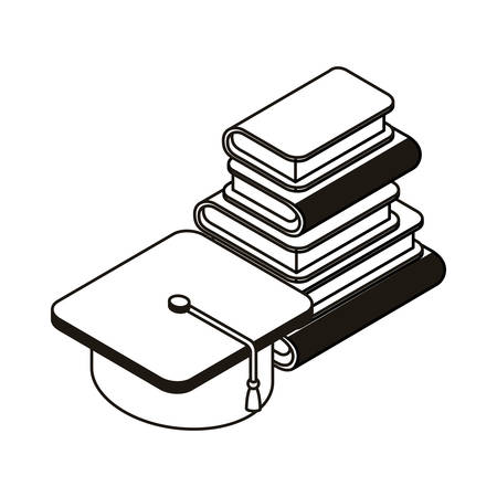stack of books with graduation hat on white background vector illustration design Illusztráció