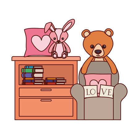 cute bear and rabbit stuffed baby toys in shelving vector illustration design