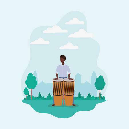 afro man playing bongos character vector illustration design
