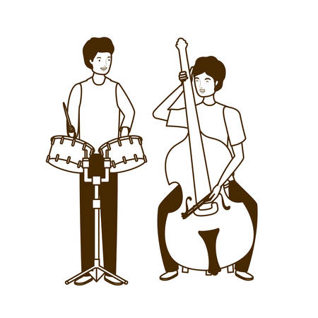 silhouette of men with musicals instruments on white background vector illustration design Фото со стока - 129860150