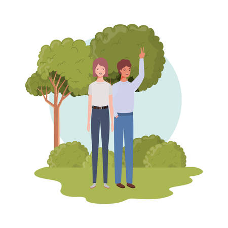 couple of people standing with landscape background vector illustration design