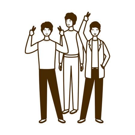 silhouette of men standing on white background vector illustration design 일러스트
