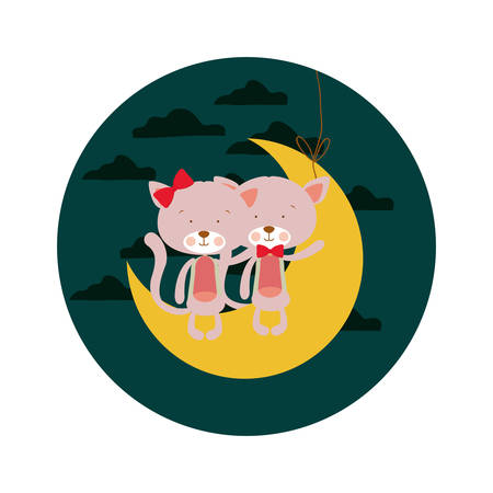 cute cats sitting in the moon vector illustration design