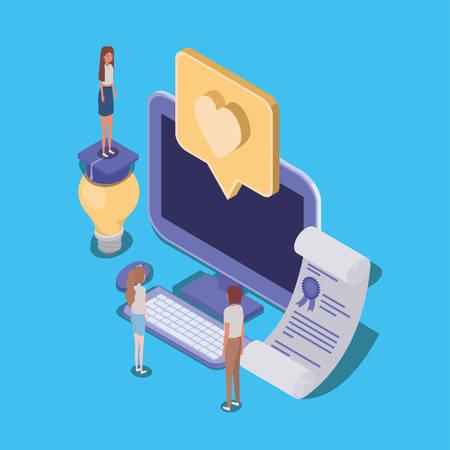 online education with desktop and mini people vector illustration design Çizim