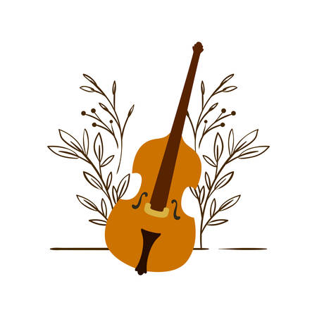 fiddle with branches and leaves in the background vector illustration design Фото со стока - 129860207