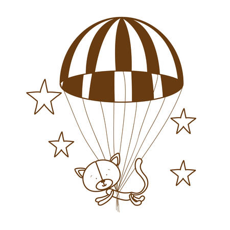silhouette of cute cat with parachute in white background vector illustration design