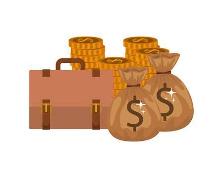 money saving and money bag on white background vector illustration design