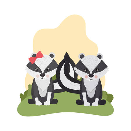 cute couple of skunks with background landscape vector illustration design